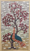 Gond Tribal Art Painting Originals - SKD 311 Peacock and the tree by Suresh Kumar Dhurve