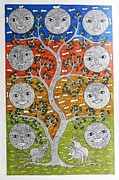 Gond Tribal Art Painting Originals - SKD 312 Nav Graha  The Nine Planets by Suresh Kumar Dhurve