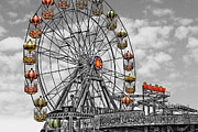 Selective Color Framed Prints - Skegness Giant Wheel Framed Print by Yhun Suarez