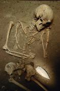 Burials Posters - Skeleton, 2,000 Years Old, With Large Poster by Kenneth Garrett