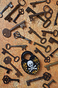 Pile Framed Prints - Skeleton Lock And Keys Framed Print by Garry Gay