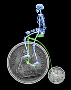 Coins Framed Prints - Skeleton On A Penny Farthing Framed Print by D. Roberts