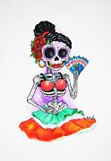 Skeleton Senorita Print by Erik Pinto