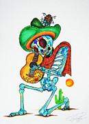 Poncho Framed Prints - Skeleton Sombrero Framed Print by Erik Pinto