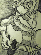 Black And White Pastels Posters - Sketch - Guitar Man Poster by Kamil Swiatek