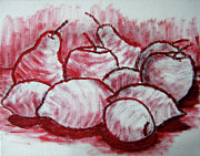 Red Fruits Framed Prints - Sketch - Tasty Fruits Framed Print by Kamil Swiatek
