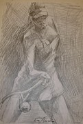 Tennis In Art Originals - Sketch 3 by Evi  Panteleon