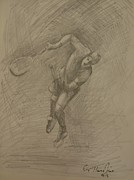 Tennis Drawings Originals - Sketch 9 by Evi  Panteleon