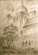 Sketch Building Print by Fanny Diaz