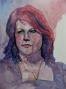 Watercolour Portrait Prints - Sketch for Gita Print by Ray Agius