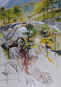 Early Drawings Originals - Sketch for Ogwen painting by Harry Robertson