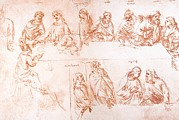 Leonardo Sketch Prints - Sketch For The Last Supper Print by Sheila Terry