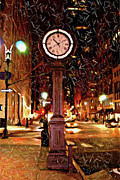 Midtown Digital Art Framed Prints - Sketch of Midtown Clock in the Snow Framed Print by Randy Aveille