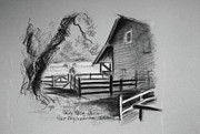 Marin County Originals - SKETCH OF MORGAN HORSE RANCH BARN  at PRNS by Paul Miller