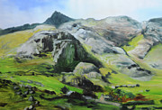 Naturalistic Posters - Sketch of mountains in Snowdonia Poster by Harry Robertson