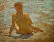 Naked Metal Prints - Sketch of Nude Youth Study for Morning Spelendour Metal Print by Henry Scott Tuke