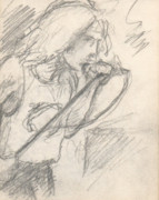 Robert Plant Originals - Sketch of Robert Plant by T Ezell