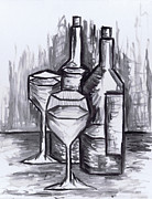 Red Wine Bottle Prints - Sketch - Still Life with Wine Print by Kamil Swiatek