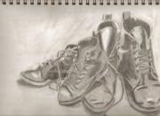 Sketchbook Drawings Prints - Sketchbook shoes Print by Jeanette Lindblad