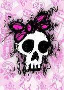 Girly Skull Posters - Sketched Skull Princess Poster by Roseanne Jones