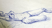 Watercolor Nude Posters - Sketches of Z 2 Poster by Julie Lueders
