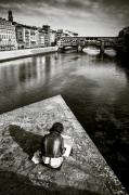 Arno River Prints - Sketching Print by David Bowman