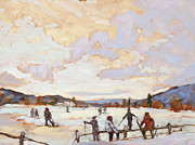 School  Painting Originals - Ski Day by Chula Beauregard
