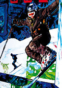 Sports Art Mixed Media - Ski Jump  by Gerald Herrmann