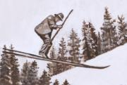 Wyoming Paintings - Ski Jumper Historical Vignette by Dawn Senior-Trask