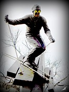 Skiing Prints Metal Prints - Ski on the edge Metal Print by Michelle Frizzell-Thompson