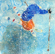 Winter Sports Paintings - Ski trick in snow1 by Sara Pendlebury