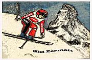 Ski Mixed Media Framed Prints - Ski Zermatt Framed Print by Monica Engeler