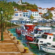 Yvonne Ayoub Art - Skiathos Old Port by Yvonne Ayoub