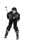Preteen Framed Prints - Skier Flying Framed Print by Susan Leggett