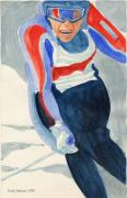 Skiing Art Prints Posters - Skier Poster by Fred Jinkins