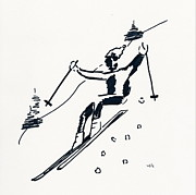 Ski Drawings Prints - Skier I Print by Winifred Kumpf