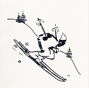 Evergreen Drawings Posters - Skier II Poster by Winifred Kumpf