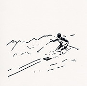 Ski Drawings Prints - Skier III Print by Winifred Kumpf