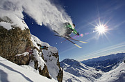 Chevalier Posters - Skier In Midair On Snowy Mountain Poster by Michael Truelove