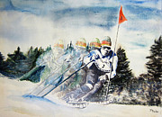 Ski Paintings - Skier In Motion by Parker Jim