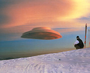Mauna Kea Photos - Skier Looks At A Lenticular Cloud by Magrathfolsom
