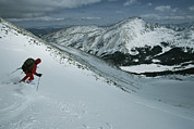 Collegiate Peaks Framed Prints - Skier Phil Atkinson Begins His Descent Framed Print by Tim Laman