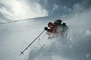 Snow Scenes Art - Skier Phil Atkinson Descends Mount by Tim Laman