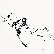 Ski Drawings Prints - Skier V Print by Winifred Kumpf