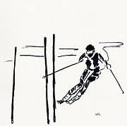 Ski Drawings Prints - Skier VI Print by Winifred Kumpf
