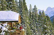 Snow Scenes Prints - Skiers On Balcony Of Ski Lodge Prepare Print by Mark Cosslett
