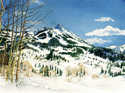 Ski Paintings - Skiers Paradise by Barbara Jewell