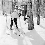 Mid Adult Metal Prints - Skiers Telephone Metal Print by Titchen