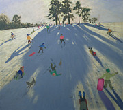 Hill Painting Framed Prints - Skiing Framed Print by Andrew Macara