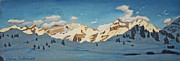 Switzerland Pastels - Skiing Cross-Country in Swiss Alps by Dana Schmidt